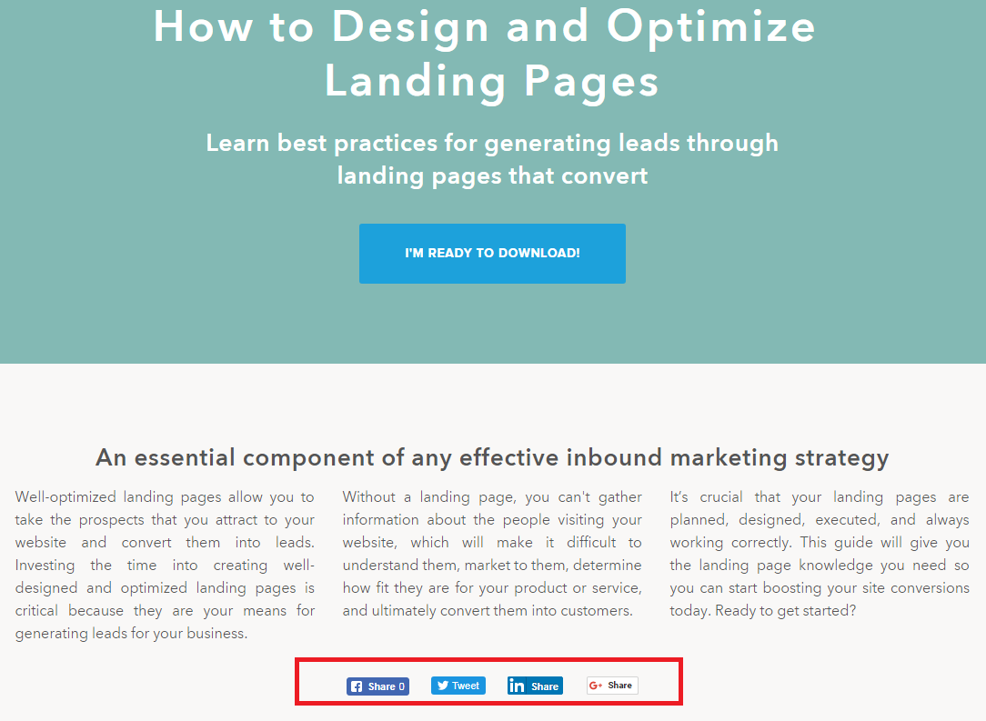 Hubspot's website's Landing Page sharability